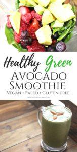 Healthy Green Avocado Smoothie (Vegan, Paleo, Gluten-free)