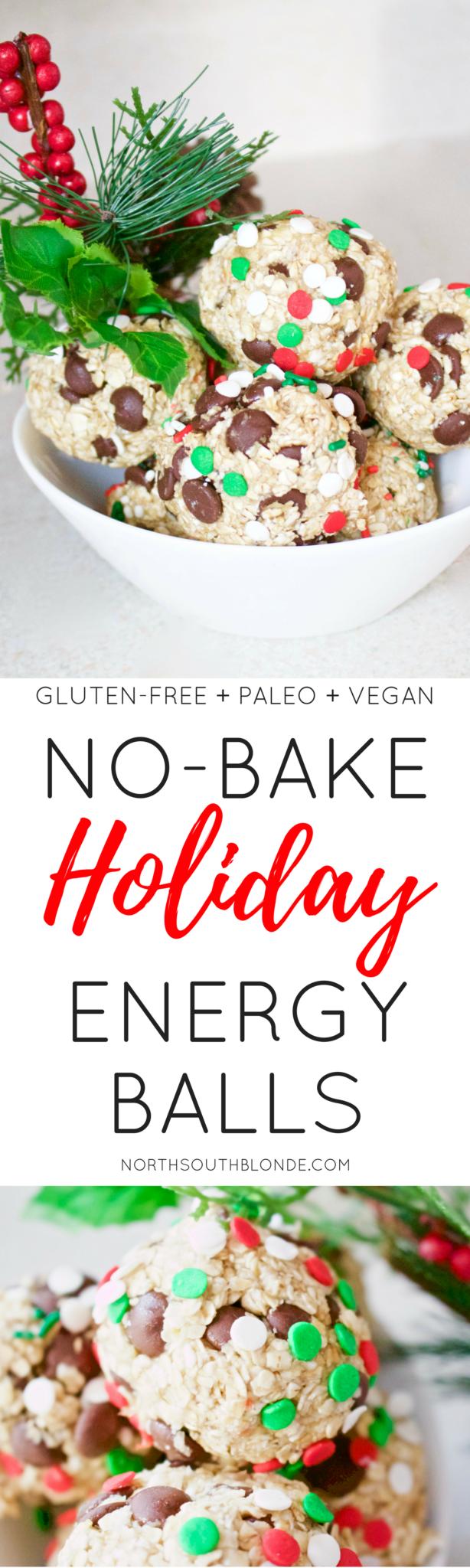 No Bake Holiday Energy Balls (Gluten-Free, Paleo, Vegan)