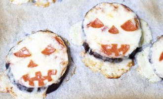 Eggplant Jack-o-Lantern Pizzas (Low Carb, Keto, and Gluten-Free)